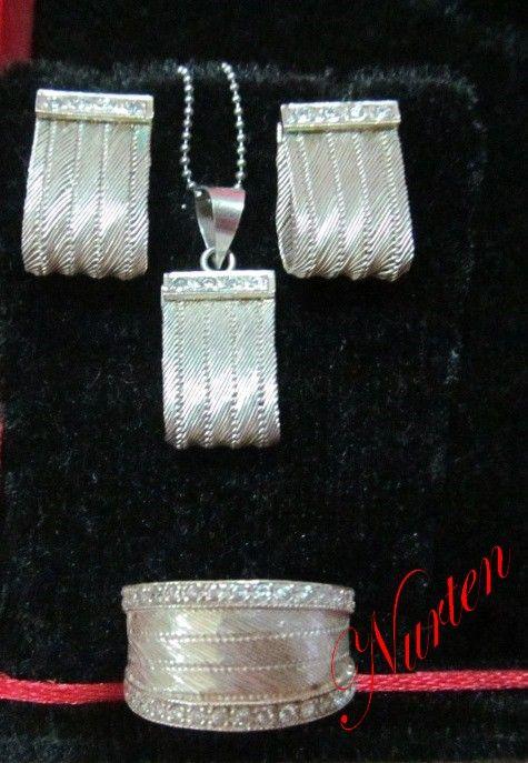 nurten kuşçu gümüş hasır örme  yüzük küpe kolye takım