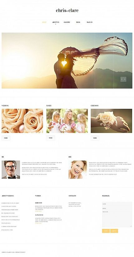 Wedding website inspirations at your coffee break? Browse for more Moto CMS HTML #templates! // Regular price: $139 // Sources available:<b>Sources Not Included</b> #Wedding #Moto CMS HTML