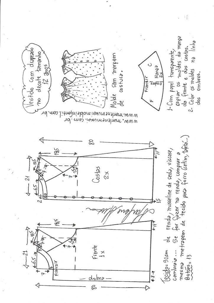 bc9b7efef81ade Vestido evasê raglan drapeado no decote - DIY- marlene mukai - molde ...