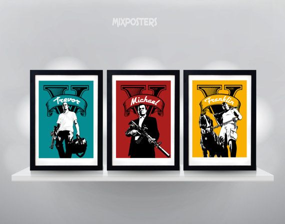 LIMITED  GTA 5 TRIPLE Pack Wall Art Print Game by MixPosters,
