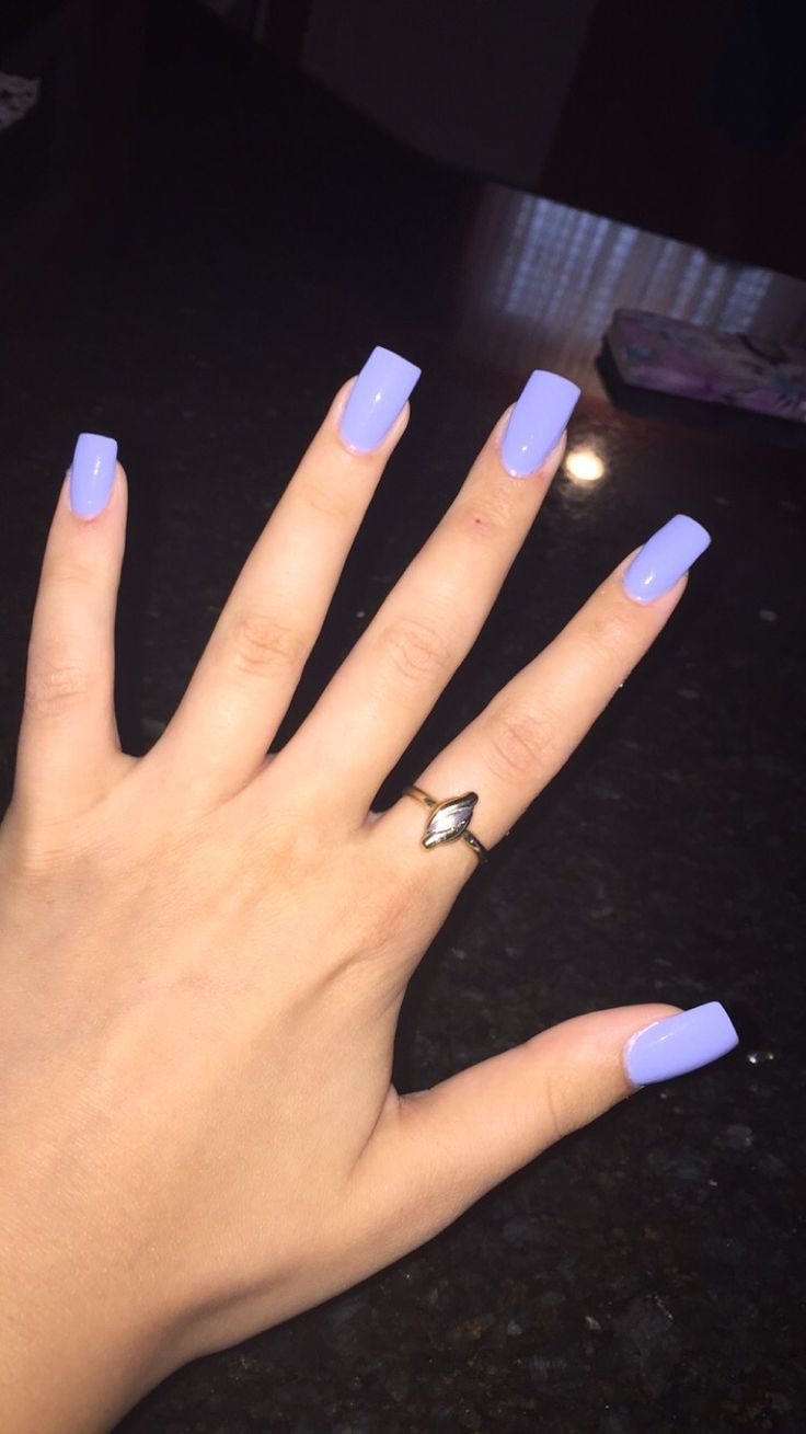 Long square periwinkle nails