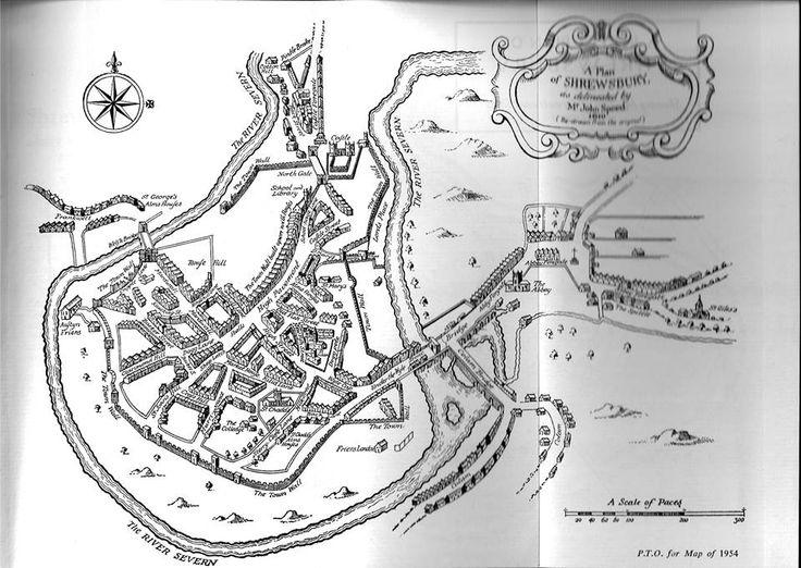 Map of Shrewsbury town, 1610