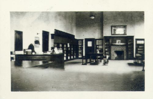 Dufferin St Clair Branch (formerly Earlscourt) - children's area - vintage photo circa 1920s - notice fireplace.