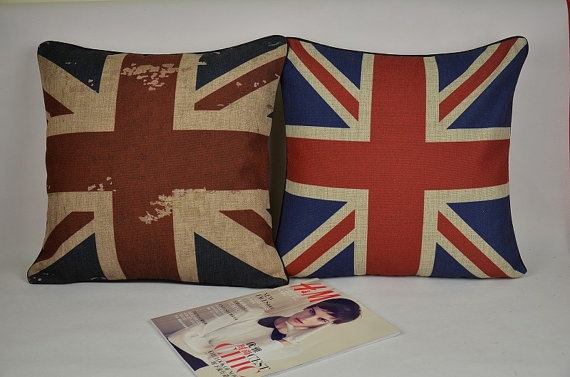 The United Kingdom flag red blue throw pillow cover by Lostpigeon, $20.00