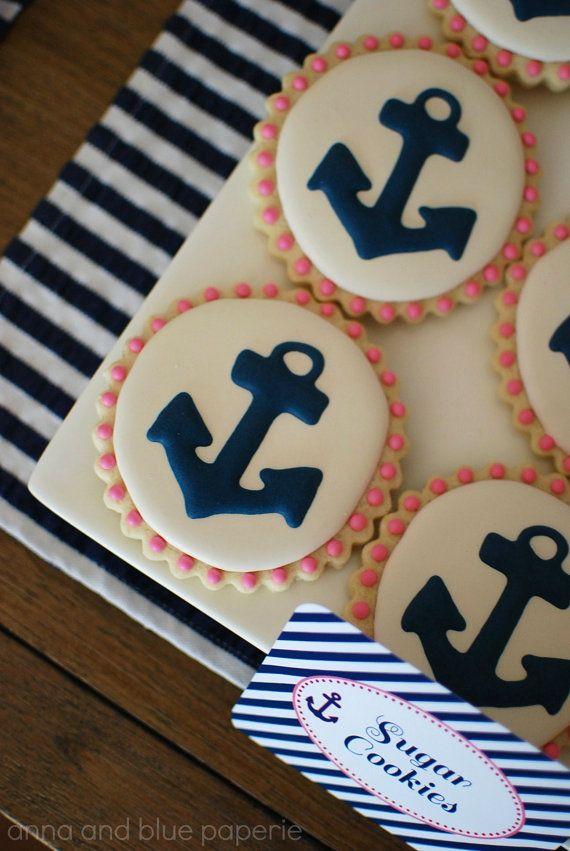 Navy & Pink Anchor Decorated Sugar Cookies 12 by sweetgoosiegirl