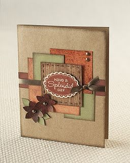 handmade card ... kraft with a montage of panels in autumn colors ... great use of scrap papers .... punched flowers ... metallick brads ... luv it!