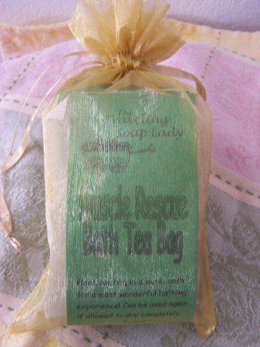 Muscle Rescue Bath Tea Bag Set by The Traveling Soap Lady. $12.00. Three tea bags in an organza bag - great gift for the person who works hard!. Each one can be used several times if allowed to dry completely. All natural herbs. Great way to soothe those aching muscles!. This is a great addition to any bath! The herbal ingredients will soothe the muscles and awaken you with renewed energy! What a great way to bounce back!. Save 20% Off!