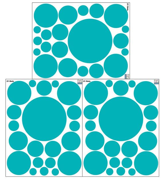 Polka Dot Decals- Teal Wall Stickers