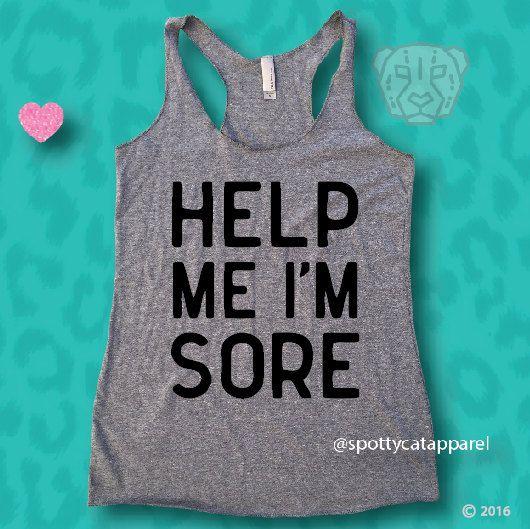 HELP ME I'm SORE, Tri blend tank,fitness, gym,workout,yoga,pilates,barre…