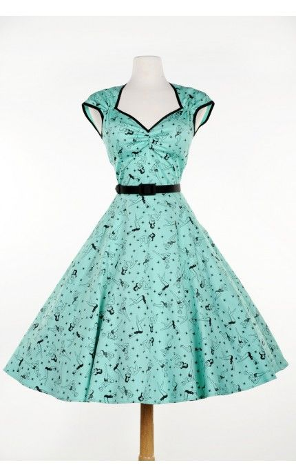 Pinup Couture - Heidi Dress in Mint Pinup Print | Pinup Girl Clothing
