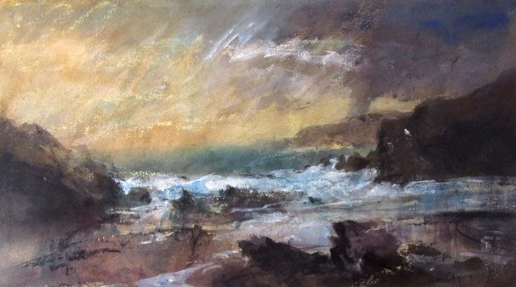 William Selwyn RCA - Oriel Tegfryn Stormy Sunset, Porth Dafarch