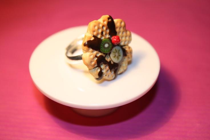 yummy jewely, ring, waffle, heart shaped, strawberry, banana