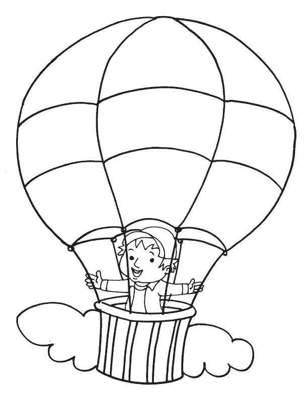 Boy In Hot Air Balloon Coloring Pages Hot Air Balloon Air Balloon Coloring Pages