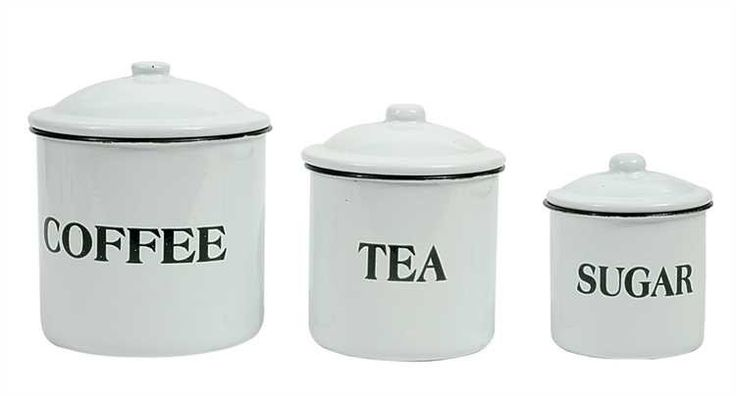"""If you love our Farmhouse Bread Tin you'll love this 3-piece enamel canister set. 6"""", 5"""" & 4""""H Enameled Metal """"Coffee Tea Sugar"""" Containers with Lids. Sold as a set of 3."""