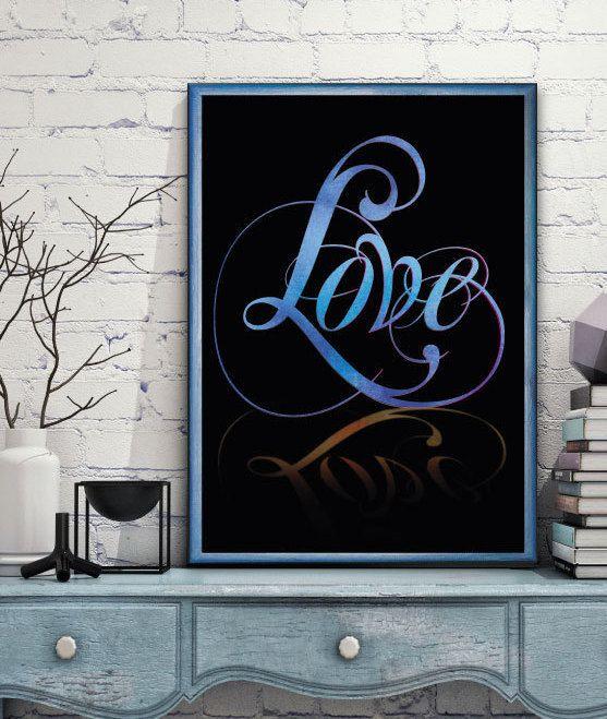 Love quote Typographic art print Minimalist art di Printmyidea