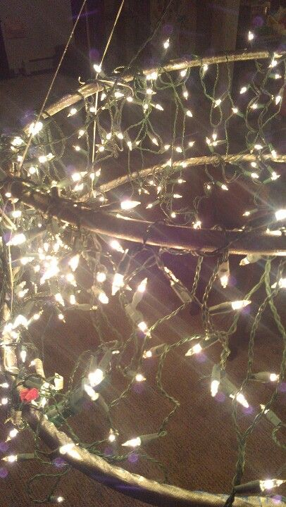 Awesome hula hoop chandelier ! Looked great at the partee!