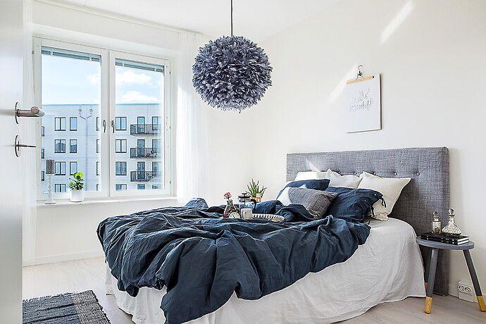 Bilder, Sovrum, Grå, Blå, Lampa, Sänggavel, Vit, Säng - Hemnet Inspiration