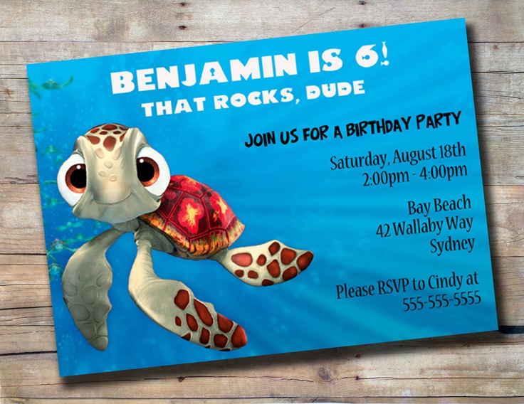 squirt birthday invitation finding nemo baby shower ideas