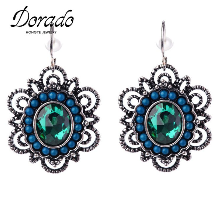 Dorado New Ethnic Earrings Retro Style Colorful Bead Crystal Rhinestone Drop Earring Latest Jewellery Designs