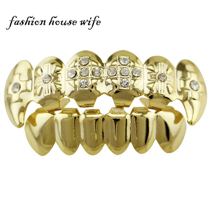 Fashion House Wife Teeth Grillz Shiny Dental Grills Cross Rhinestone Teeth Sets Punk Jewelry Halloween Vampire Teeth Caps NL0036