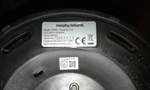Power rating sticker on kettle