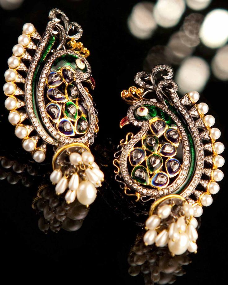 Royal Peacock — Vasundhara Mantri — Dangling Earrings | Indianhanger.com