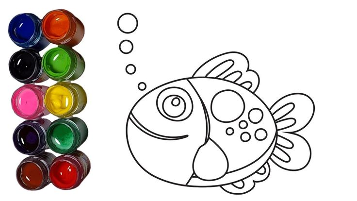 Learn Colors and How to Drraw Colorful Fish Coloring Pages, Coloring Vid...