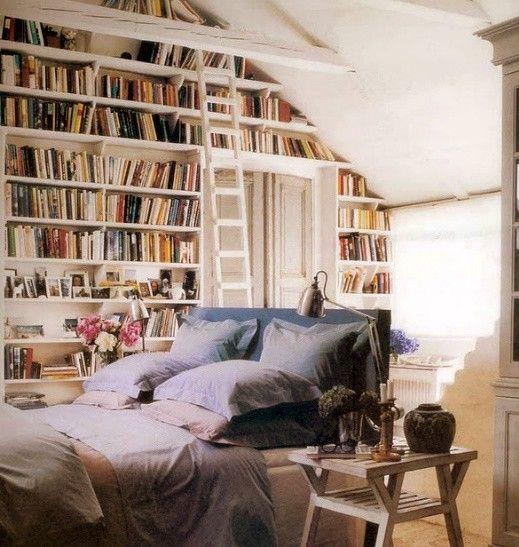 library bedroom  http://brookegiannetti.typepad.com/velvet_and_linen/2012/03/bedroom-library.html