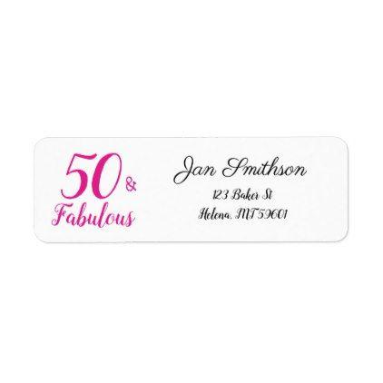 50 And Fabulous 50th Birthday Return Address Label Birthday Gifts