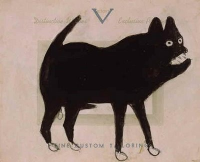 'Dog' (verso 'Pointing Woman') (1939-42) by Bill Traylor (1854-1949). Poster paint & pencil on advertising board, 9.75 x 7.25 in.