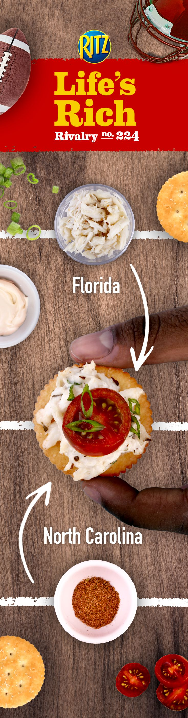 When game day hits, bring a football rivalry-inspired recipe to the table with Florida-style crab meat & North Carolina-inspired Cajun seasoning. Make RITZ Cajun Crab Salad Toppers by following these simple recipe steps: 1. Combine crab meat w/ mayonnaise & Cajun seasoning 2. Top RITZ Crackers w/ crab meat 3. Add slice of tomato & a bit of green onion to each cracker. This simple appetizer will bring people together at your next football party.