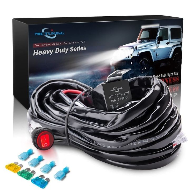 Hd 300w Led  Light Bar Wiring Harness Fuse 40amp Relay On