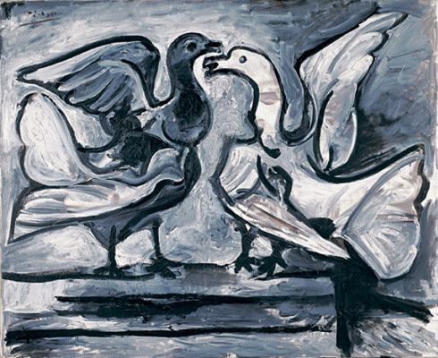 Pablo Picasso - Two Doves with Wings Spread, March 16–19, 1960 - Guggenheim Museum: