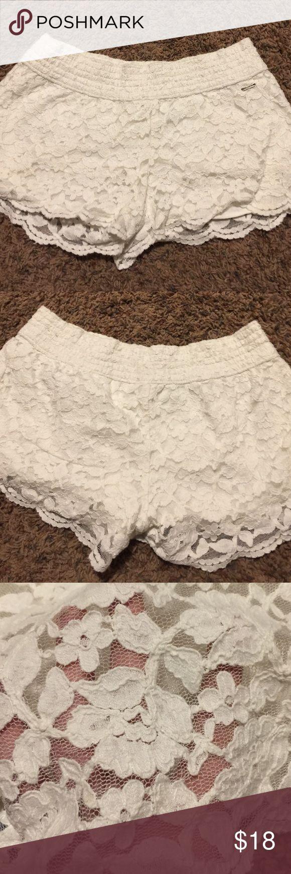 white lace shorts Hollister white laced shorts. size M. barely worn. Hollister Shorts