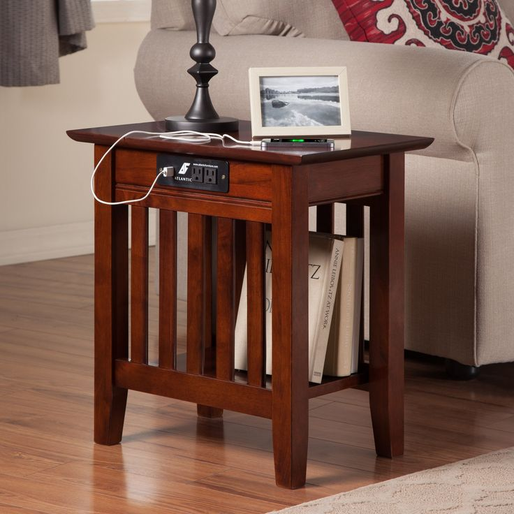 Atlantic Furniture Houlton Chair Side Table with Charging Station | from hayneedle.com