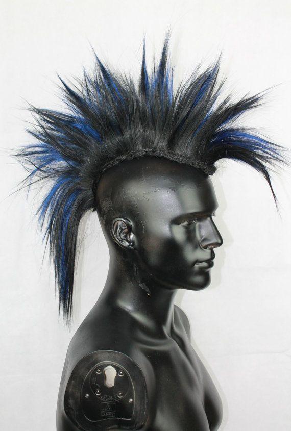 Black & Blue Mohawk Hair Pieces. 100% Human Hair, Hair Accessories, Men's Wig.