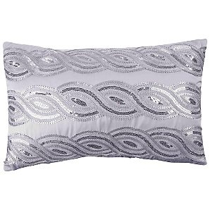 Kylie Sequin Wave Cushion, Silver