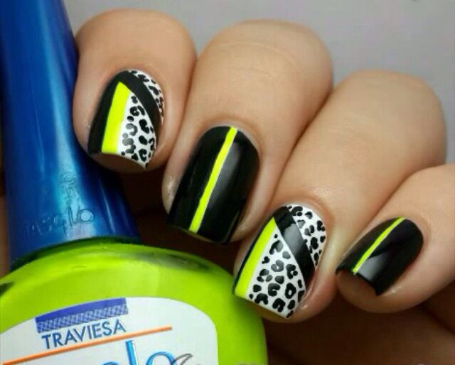 Black, white, neon yellow, and leopard print.