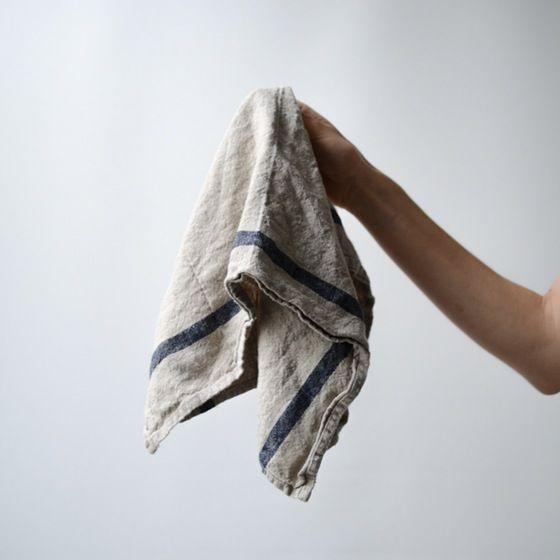 Image of fog linen tea towel - natural navy stripe
