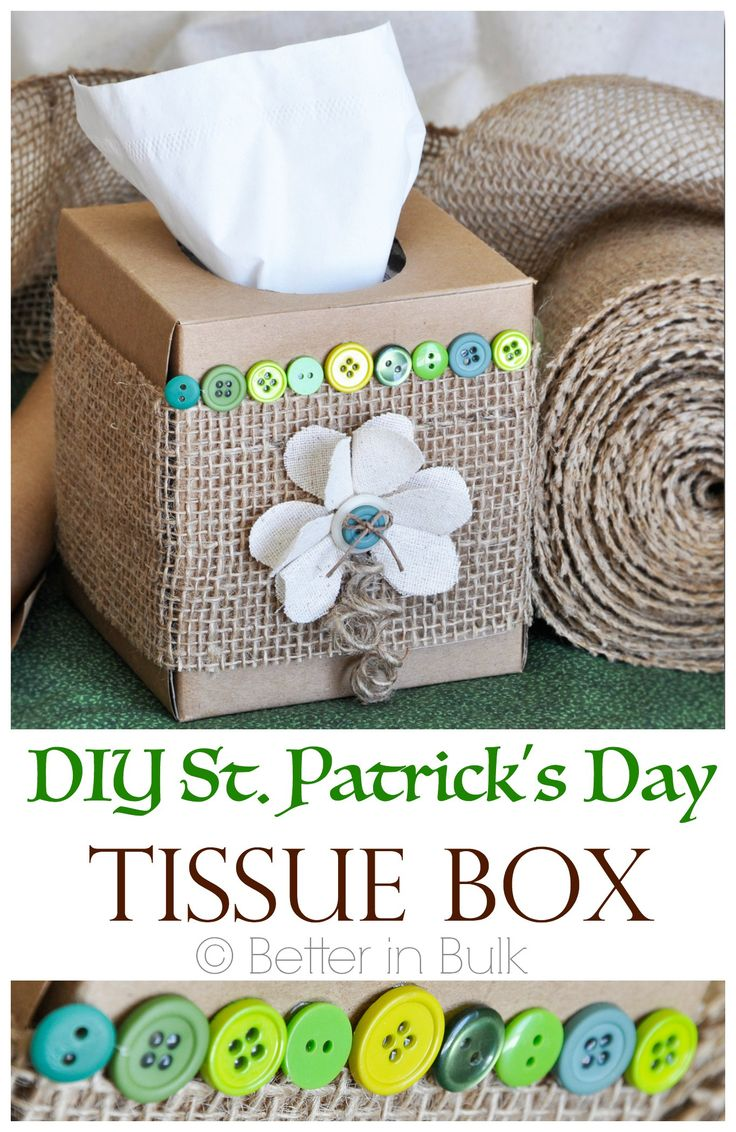 Makeover your tissue box with brown paper, burlap, buttons, twine and Arrow's All Purpose TR550 with precision feed. Perfect for St. Patrick's Day and all-year round! www.arrowfastener.com