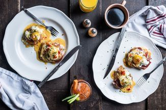 Fried Green Tomato Benedict with Smithfield Ham & Pimiento Cheese Hollandaise Recipe on Food52 recipe on Food52