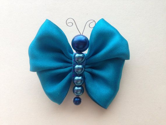 Turquoise Satin Ribbon Butterfly Hair Clip/ por HeavensBabyShop, $3.00