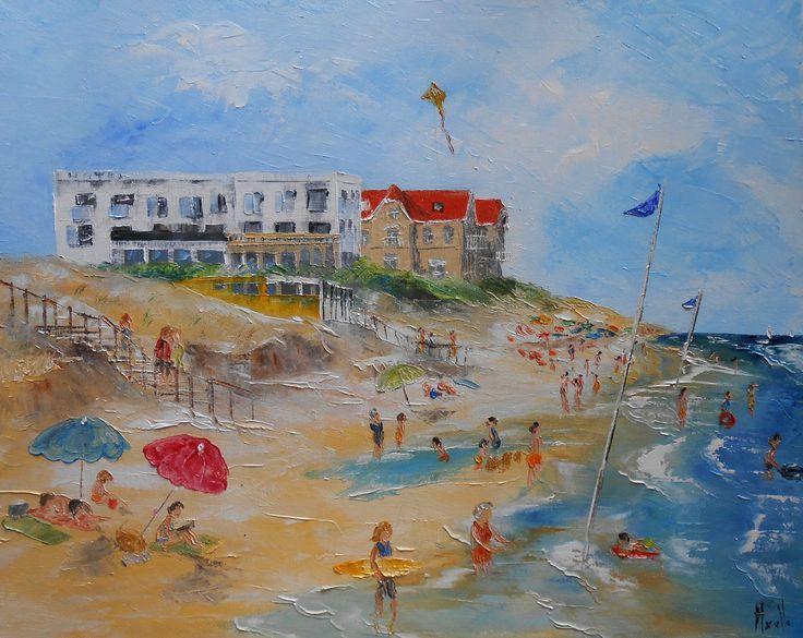 "Tableau ""Hotel de la Plage de Biscarrosse"" - peintures-axelle-bosler : Peintures par peintures-axelle-bosler"