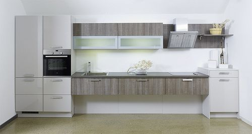 Bauformat Modern grey & distressed wood wall-mounted kitchen ...