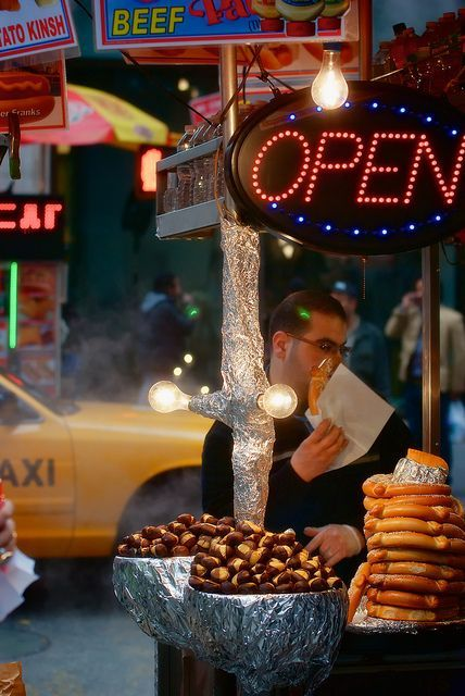 street food in NY • street food kiosks decorate a city street, make it more alive