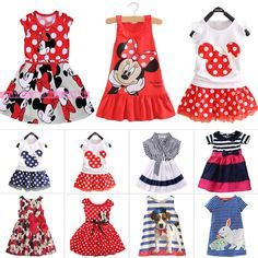 Summer Girls Dress Princess Baby Mickey Minnie Mouse Vest Skirt for 1-7 Years…