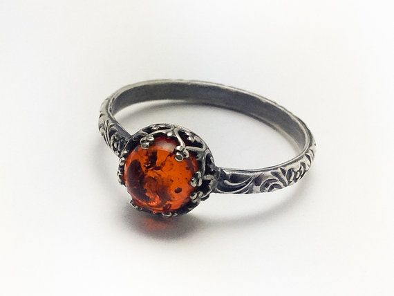 Natural Polish Amber Ring   Sterling Silver Amber Ring  by BINSTER, $45.00