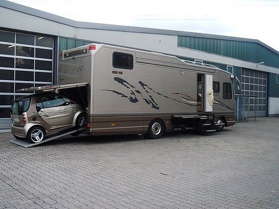 Motorhome with motorcycle garage with creative photos for Rv trailer with garage