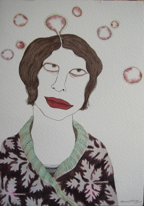 Dhruvi Acharya, Woman with Thought Bubbles, Watercolor on Paper, 17.7 x 12.6 cm