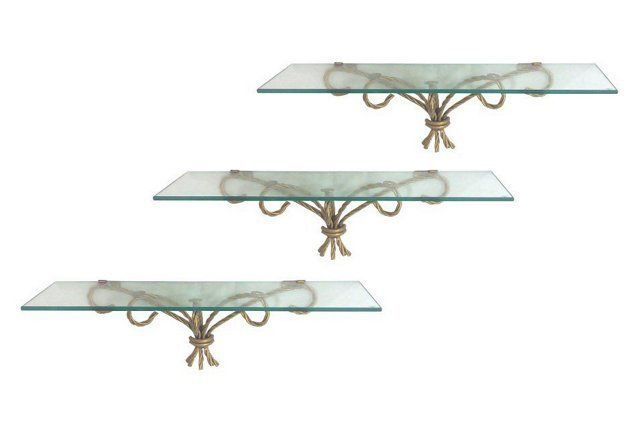 Gilt Rope and Glass Wall Shelves, S/3